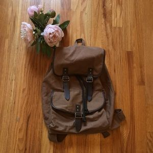 Unisex Brown Canvas Backpack